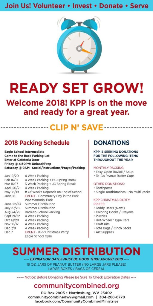 Our packing schedule and donation list