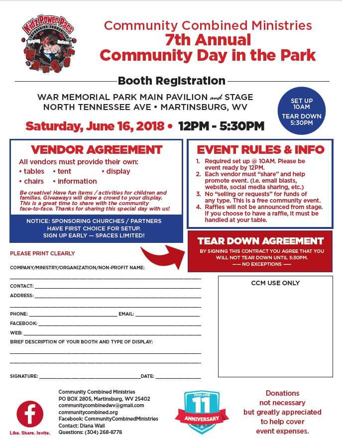 Vendor booth registration for community combined ministries 7th annual day in the park