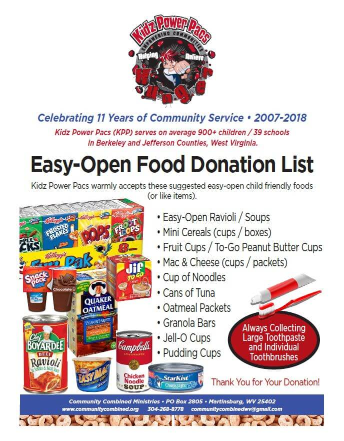 KPP welcomes donations of easy open and child friendly foods.