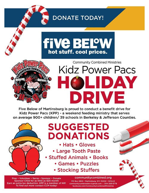 Kidz power pacs holiday drive: suggested donations