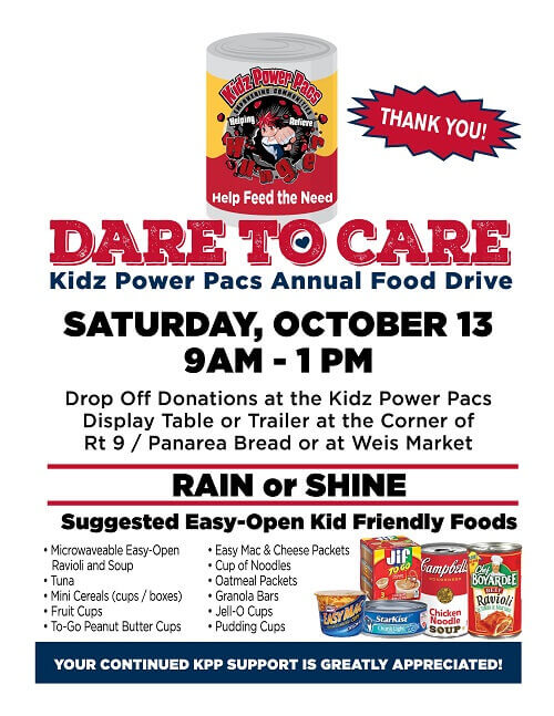 Sat. oct 13 ranson food drive at corner of rt 9 and panera bread - also weis market