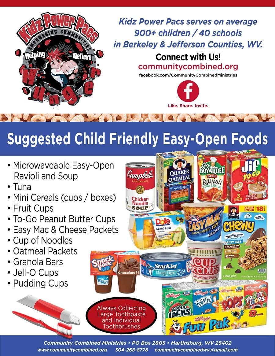 2019 kpp food list flyer - easy open child friendly foods