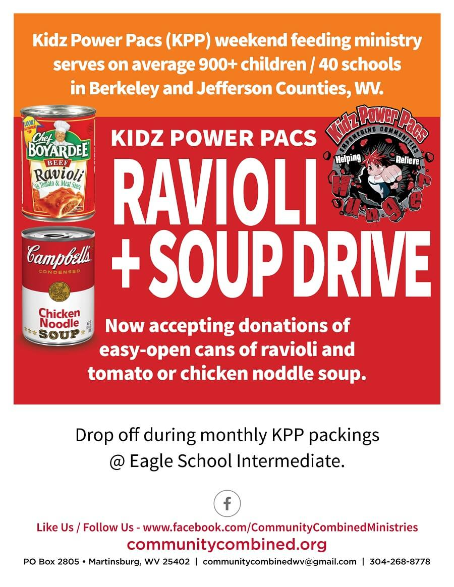 Kidz power pacs ravioli and soup drive: see accessible pdf link