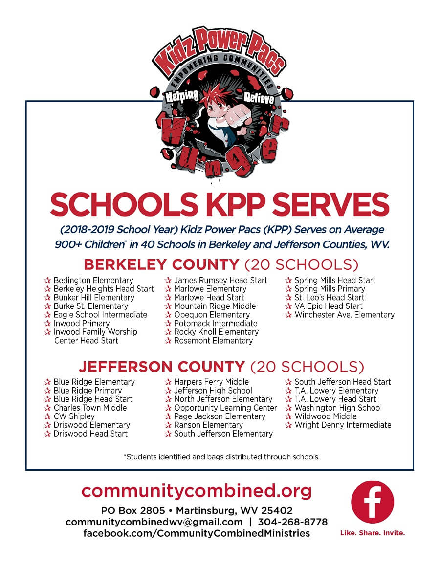 Schools kidz power pac serves - a list. see link to accessible pdf