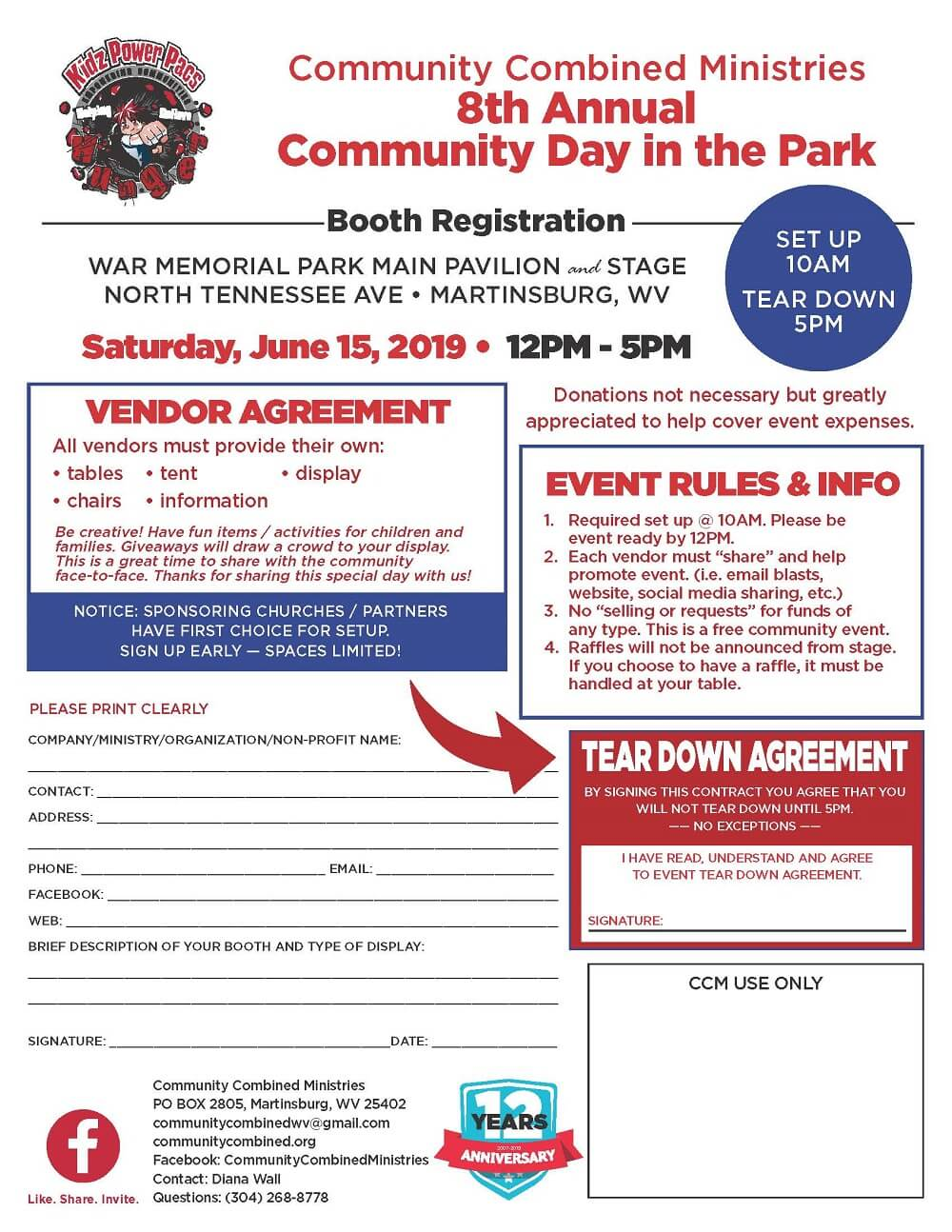 Booth registration for community combined ministries 8th annual day in the park at war memorial main pavilion june 15 2019