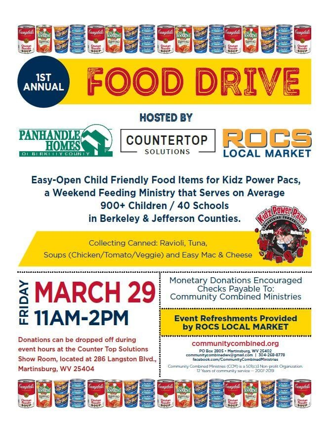 First annual food drive: hosted by panhandle homes, countertop solutions, and rocs local markets friday march 29 from 11 am to 2 pm