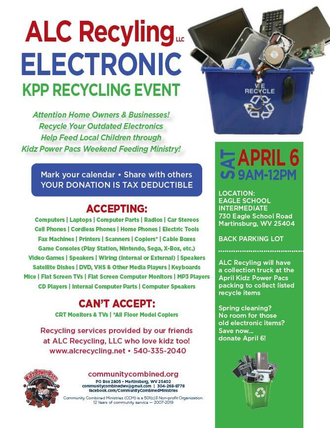ALC recycling and kpp electronic event saturday april 6 from 9am to 12 pm at eagle school intermediate school