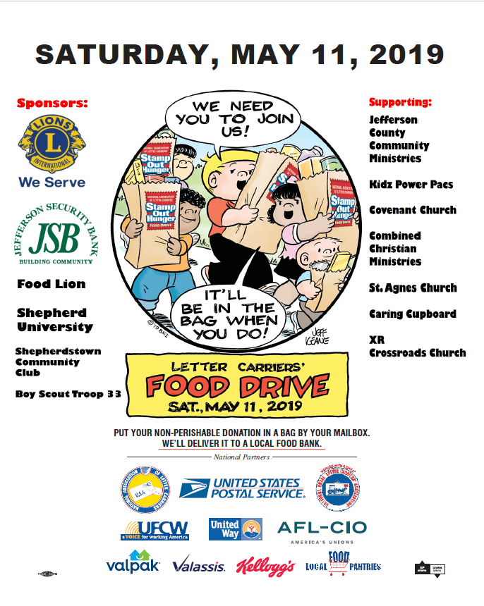 Saturday may 11, 2019- letter carriers food drive. put your non-perishable donation in a bag by mailbox. we'll deliver it to local bank.