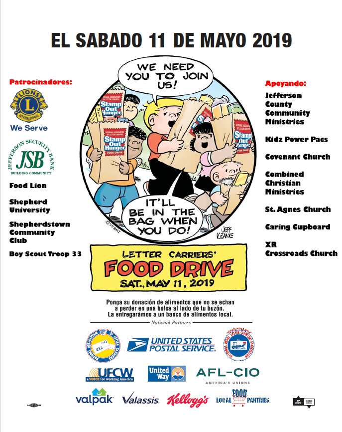 El sabado 11 de mayo 2019- letter carriers food drive. put your non-perishable in a bag by mailbox, we will take it to local bank